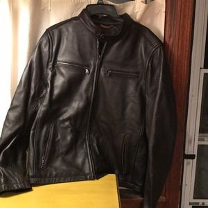NWT Dockers brown leather moto racer jacket large